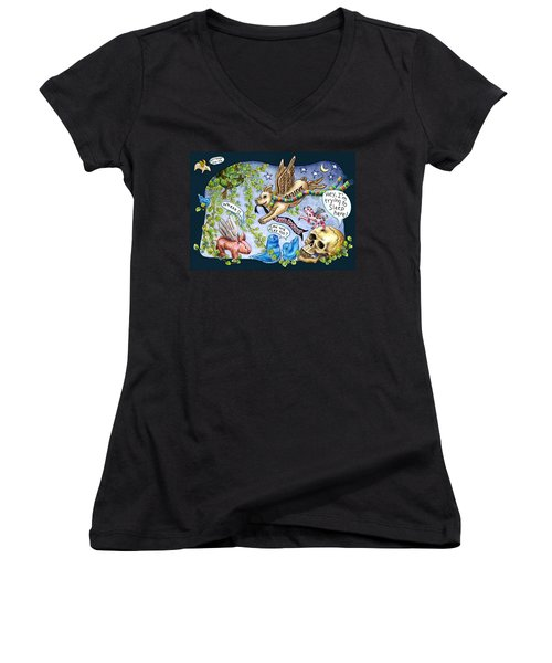 Flying Pig Party Women's V-Neck