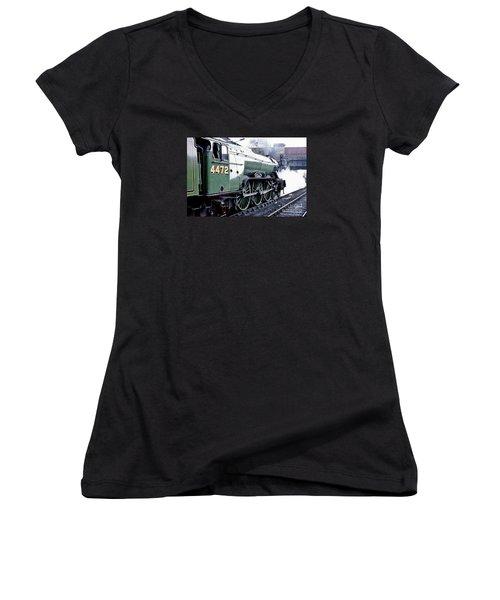 Flying Scotsman Locomotive Women's V-Neck T-Shirt