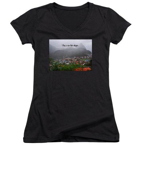 Fog Women's V-Neck T-Shirt (Junior Cut) by Gary Wonning