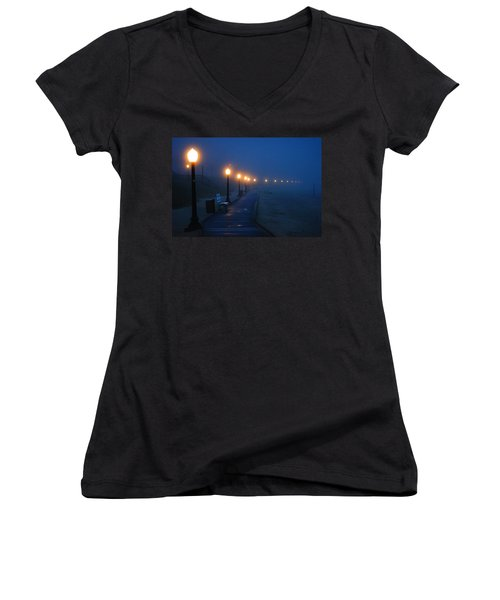 Foggy Boardwalk Blues Women's V-Neck (Athletic Fit)