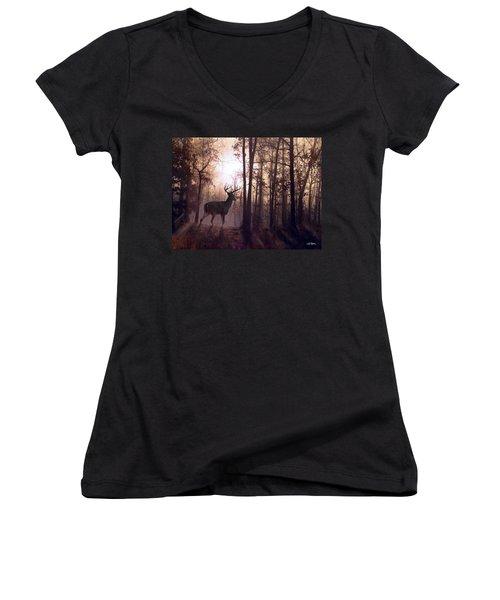 Foggy Morning In Missouri Women's V-Neck T-Shirt (Junior Cut) by Bill Stephens