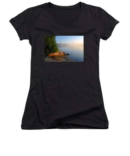 Foggy Morning On Spice Lake Women's V-Neck (Athletic Fit)