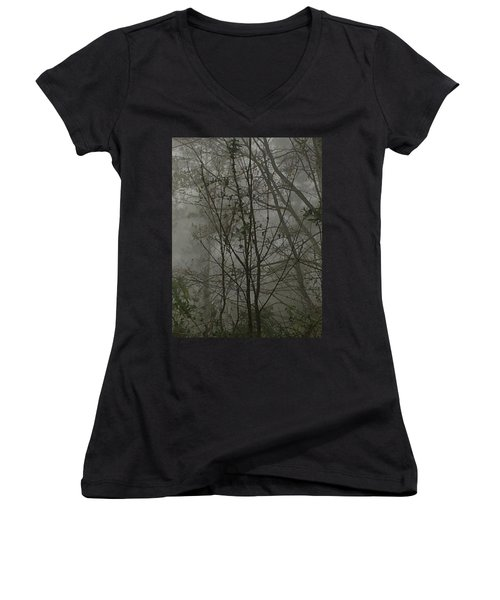 Foggy Woods Photo  Women's V-Neck T-Shirt (Junior Cut) by Gina O'Brien