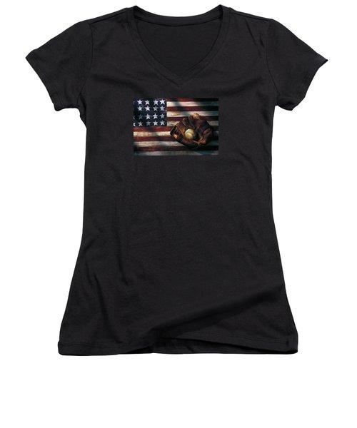 Folk Art American Flag And Baseball Mitt Women's V-Neck T-Shirt (Junior Cut) by Garry Gay