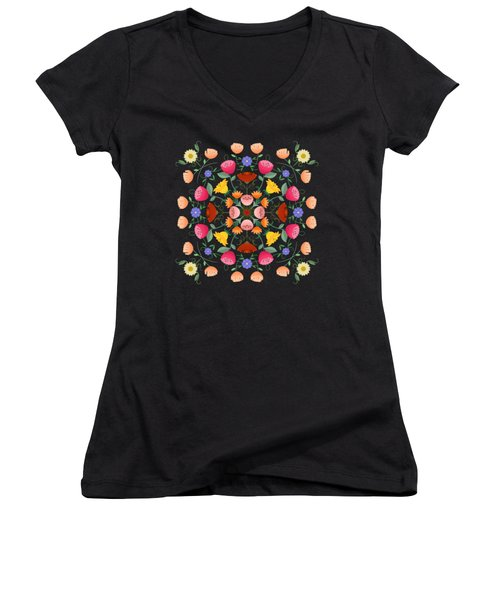 Folk Art Inspired Garden Of Fantastic Floral Delight Women's V-Neck