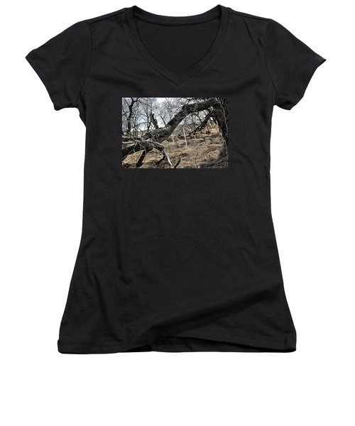 Fone Hill Cemetery  Women's V-Neck T-Shirt (Junior Cut) by Ryan Crouse