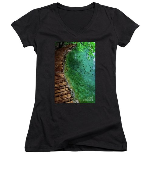 Footpaths And Fish - Plitvice Lakes National Park, Croatia Women's V-Neck (Athletic Fit)