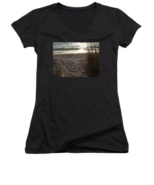 Women's V-Neck T-Shirt (Junior Cut) featuring the photograph Footprints In The Dunes by Robert Margetts