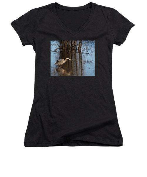 Foraging Women's V-Neck T-Shirt (Junior Cut) by I'ina Van Lawick