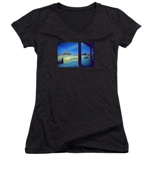 Women's V-Neck T-Shirt (Junior Cut) featuring the photograph Forbidden City Porch by Dennis Cox ChinaStock