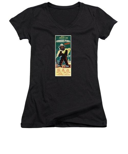 Forbidden Planet In Cinemascope Retro Classic Movie Poster Portraite Women's V-Neck T-Shirt (Junior Cut) by R Muirhead Art