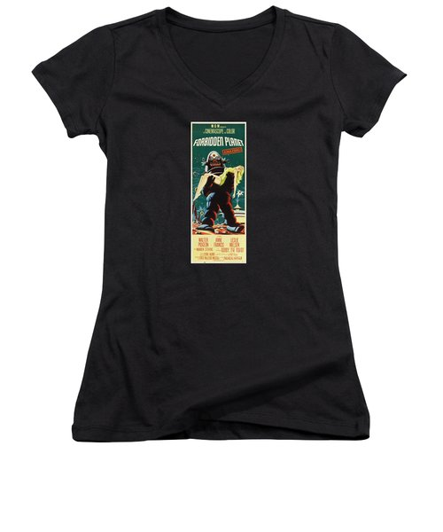 Forbidden Planet In Cinemascope Retro Classic Movie Poster Portraite Women's V-Neck (Athletic Fit)