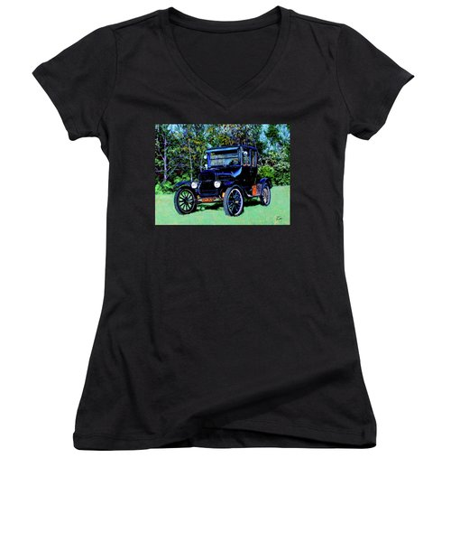 Ford Model T Women's V-Neck (Athletic Fit)