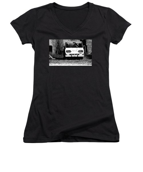 Ford Sketched In Black And White Women's V-Neck (Athletic Fit)