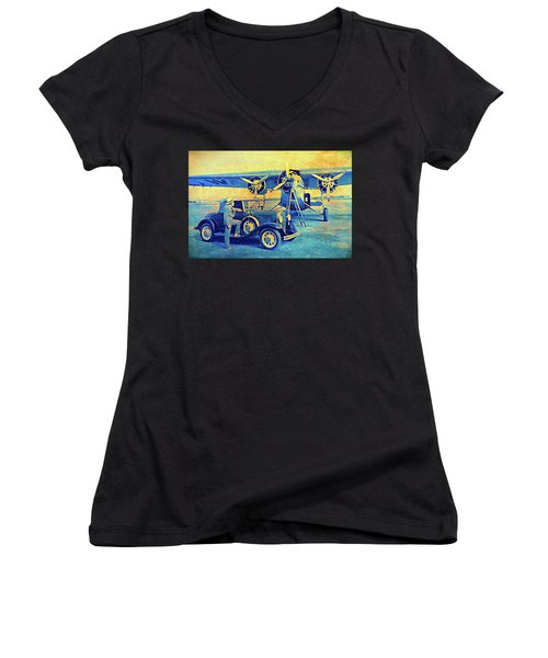 Ford Trimotor And 1931 Model A Roadster Women's V-Neck