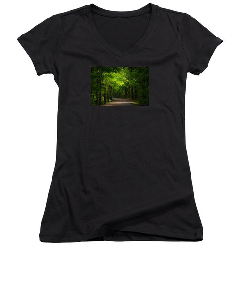 Forest Path Women's V-Neck T-Shirt (Junior Cut) by Parker Cunningham