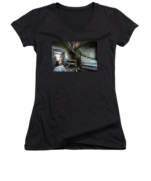 The Sound Of Decay - Abandoned Piano Women's V-Neck T-Shirt