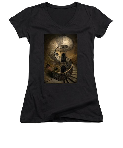 Forgotten Staircase Women's V-Neck T-Shirt (Junior Cut) by Jaroslaw Blaminsky