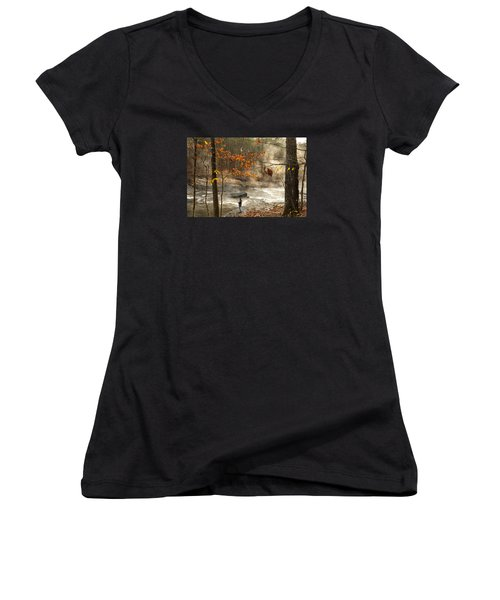 Fork River In Fall Women's V-Neck (Athletic Fit)