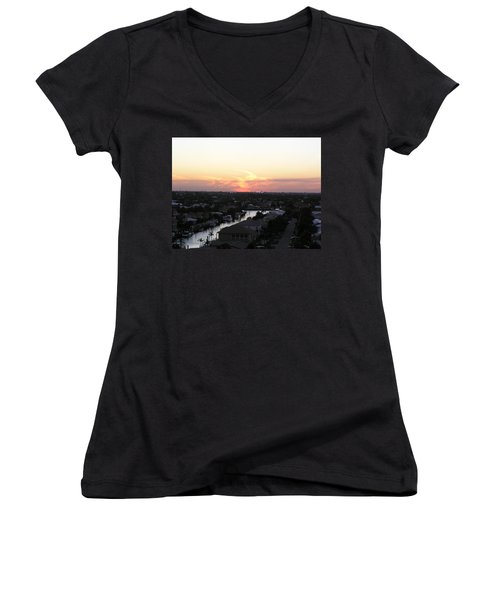 Fort Lauderdale Sunset Women's V-Neck T-Shirt (Junior Cut) by Patricia Piffath