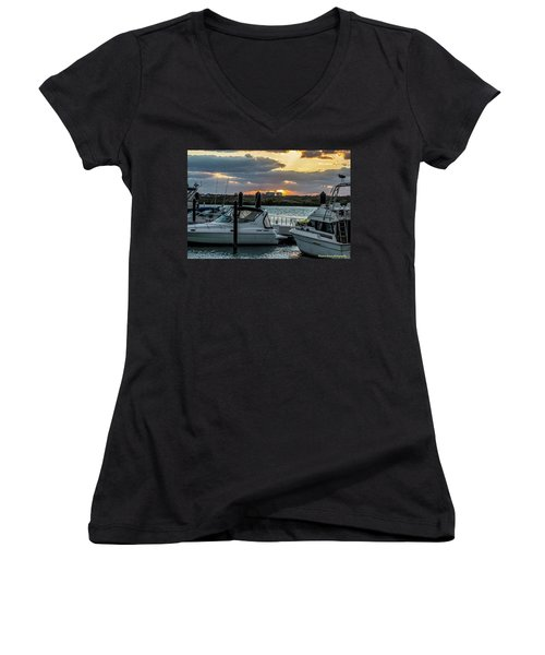 Fort Pierce Marina Women's V-Neck T-Shirt (Junior Cut) by Nance Larson