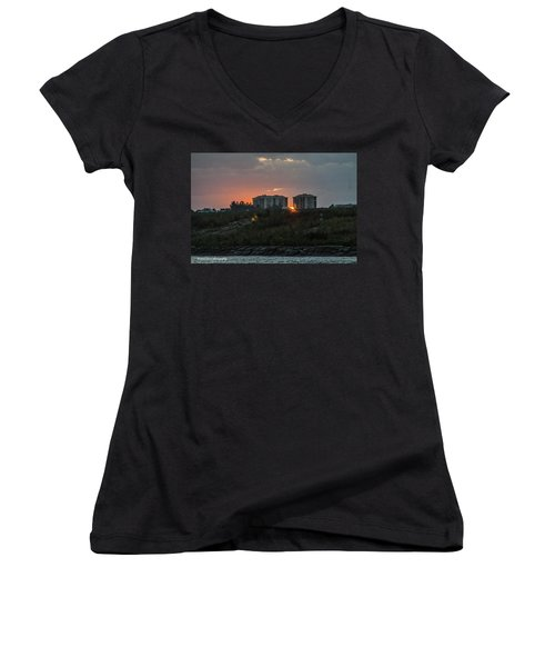 Fort Pierce Sunrise Women's V-Neck T-Shirt (Junior Cut) by Nance Larson