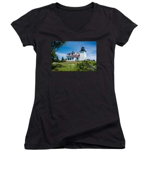 Fort Point Lighthouse  Stockton Springs Me 2  Women's V-Neck T-Shirt