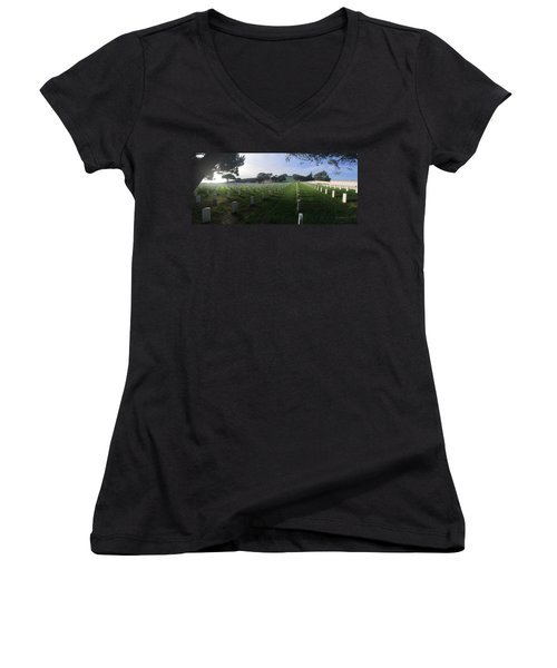 Women's V-Neck T-Shirt (Junior Cut) featuring the photograph Fort Rosecrans National Cemetery by Lynn Geoffroy