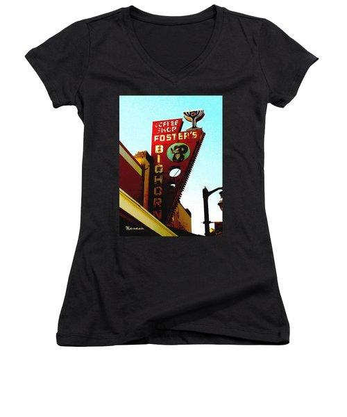 Foster's Bighorn Cafe Women's V-Neck T-Shirt (Junior Cut) by Sadie Reneau
