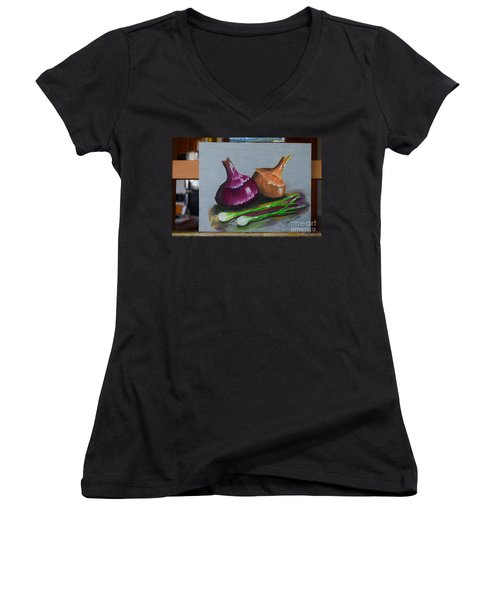 Women's V-Neck T-Shirt (Junior Cut) featuring the painting Four Onions by Melvin Turner