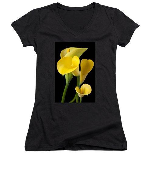 Four Yellow Calla Lilies Women's V-Neck T-Shirt (Junior Cut) by Garry Gay