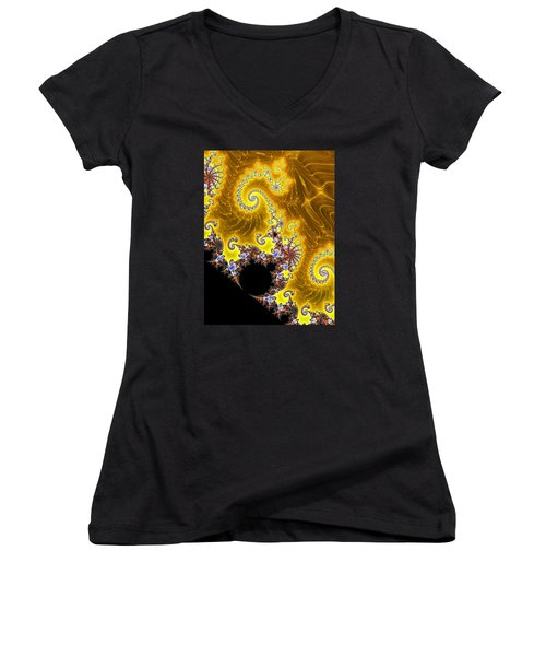 Women's V-Neck T-Shirt (Junior Cut) featuring the photograph Fractal Coastline by Ronda Broatch