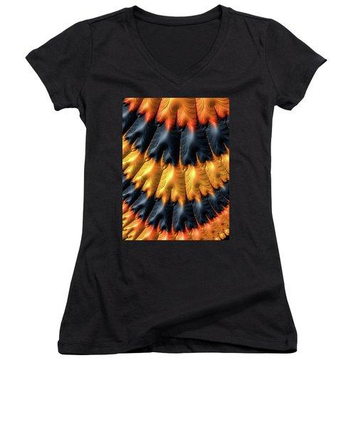 Women's V-Neck T-Shirt featuring the digital art Fractal Pattern Orange And Black by Matthias Hauser