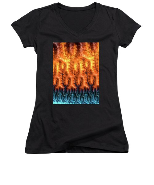 Women's V-Neck T-Shirt featuring the digital art Fractal Pattern Orange Brown Aqua Blue by Matthias Hauser