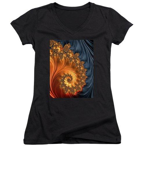Women's V-Neck T-Shirt featuring the digital art Fractal Spiral Orange Golden Black by Matthias Hauser