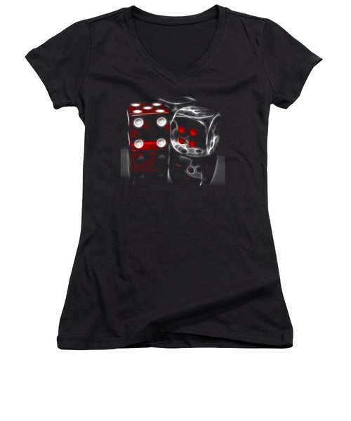 Women's V-Neck T-Shirt (Junior Cut) featuring the photograph Fractalius Dice by Shane Bechler
