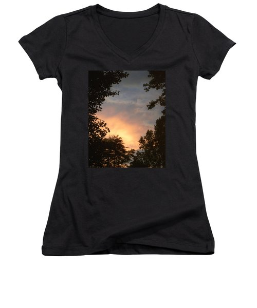 Women's V-Neck T-Shirt (Junior Cut) featuring the photograph Framed Fire In The Sky by Sandi OReilly