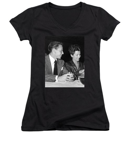 Frank Sinatra And Nancy Women's V-Neck T-Shirt (Junior Cut) by Underwood Archives