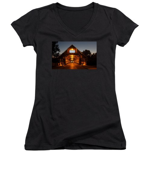 Frankenmuth Covered Bridge Women's V-Neck T-Shirt (Junior Cut) by Pat Cook