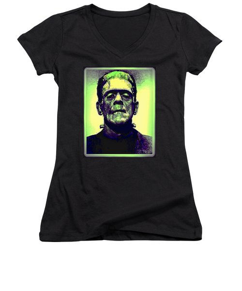 Frankenstein In Color Women's V-Neck T-Shirt (Junior Cut) by Joan  Minchak