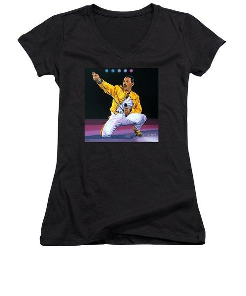 Freddie Mercury Live Women's V-Neck (Athletic Fit)