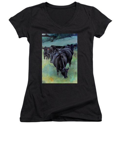 Free Range Cow Girls Women's V-Neck T-Shirt