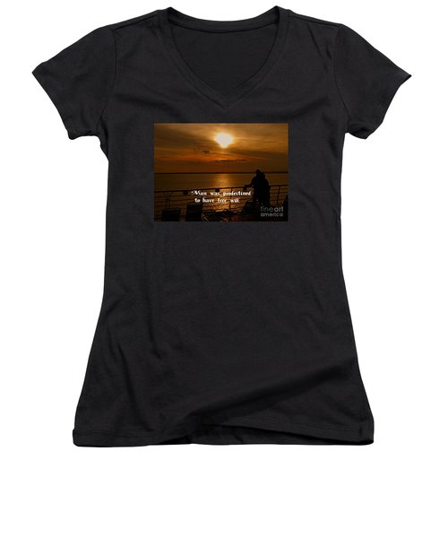 Free Will Women's V-Neck T-Shirt (Junior Cut) by Gary Wonning