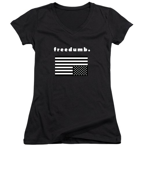 Freedumb Women's V-Neck T-Shirt (Junior Cut) by Chief Hachibi