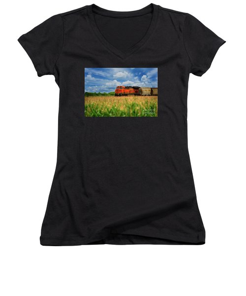 Freight Train Women's V-Neck T-Shirt (Junior Cut) by Kelly Wade