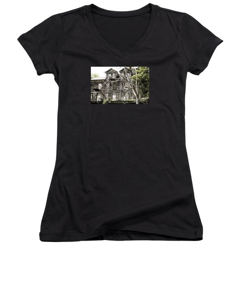 French Doors And Fire Escapes Women's V-Neck