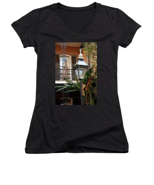 Women's V-Neck T-Shirt (Junior Cut) featuring the photograph French Quarter Courtyard by KG Thienemann