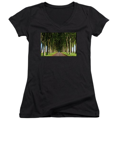 French Tree Lined Country Lane Women's V-Neck