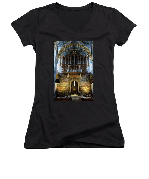 Fresco Of The Last Judgement And Organ In Albi Cathedral Women's V-Neck T-Shirt (Junior Cut) by RicardMN Photography