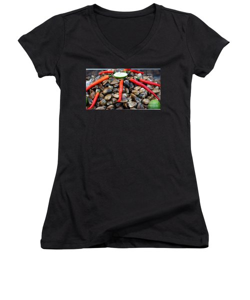 Women's V-Neck T-Shirt (Junior Cut) featuring the photograph Fresh Clams With Chilies And Limes by Yali Shi